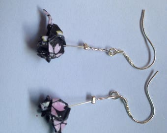 Sterling Silver - Origami Elephant Earrings - slightly damaged, price reduced