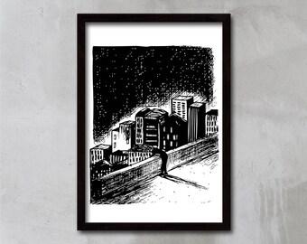 Over the city art print, Urban Art Print, Black and white print, Urban poster, Cityscape print, modern art print, wall art, APIRO PRINTS
