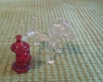 Vintage Miniature Glass Shadow Box Insert Item/Dog/Fire Hydrant/Mini Figurine/Art Deco Accessories/Collectible/Fun Gift/Window Accessory/Vet