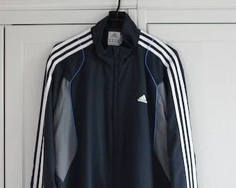 Adidas Jacket Zip Vintage Windbreaker Navy Blue White Gray Adidas 3 Strips Sweatshirt Bomber Jacket Men Women Oldschool