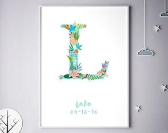 Flower Art Print, Floral Name Initial, Lilly, Lea, Lorraine, Lori, Lyla, Lara, Leona, Flower Monogram, Girl Bedroom, Birthday
