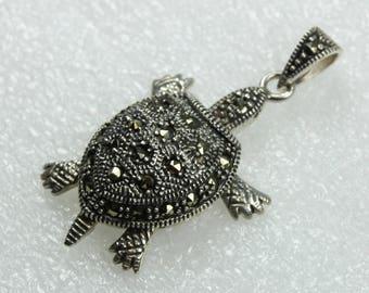 Unique Marcasite Turtle Sterling Silver Pendant