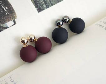 Front and Back ball and metal ball ear jacket, color balls ear jacket,Double balls EarJackets,Two color Balls Ear Jacket, Two way Earrings