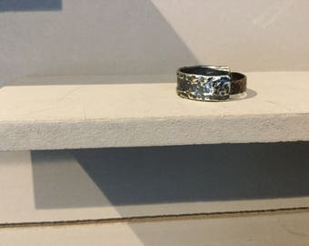 Silver men's ring of forged and oxidized silver and copper
