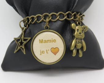 BRACELET customizable for a Grandma, friend, a MOM with charms, with cabochon gift idea