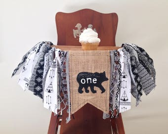 Bear Wild One High Chair Banner/Teepee Arrows Lumberjack Theme/Black White and Gray/First Birthday Party Decor/Cake Smash Photo Shoot Prop