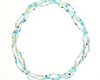 "70"" Polished Sky Blue Agate Necklace"