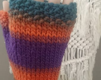 Awesome Boho Colourflow Hand Knitted Chunky Fingerless Mitts