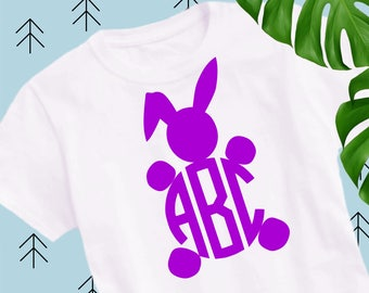 Easter bunny monogram svg Easter svg Bunny svg Easter bunny svg ears svg happy easter svg file for Cricut Silhouette easter cut files dxf