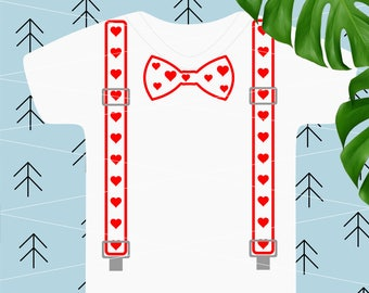 Valentines Suspenders svg Valentine Day svg Bow Tie svg baby svg love heart svg Baby boy Valentine Svg Files for Cricut Silhouette dxf lfvs