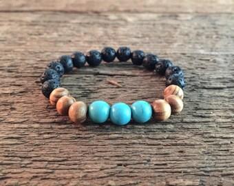 8mm Turquoise Howlite stone bead bracelet natural wood beaded bracelet stretch bead bracelet boho bracelet diffuser bracelet