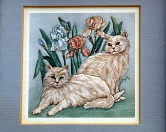Vintage Framed Grace Feyock Original Cat Print - Cat Lover Gift - Cat Decor - Persian Cats - Collectible Cat Art - Live in Moment Vintage