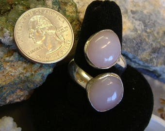 Large Rose Quartz (ooak) Fine Sterling Silver Jewelry Adjustable Ring from Size 10 to Size 12  260 B