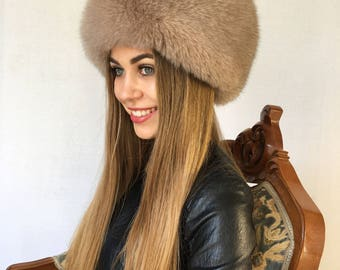 Saga Fox Fur Hat Adjustable Creamy Full Fur Hat