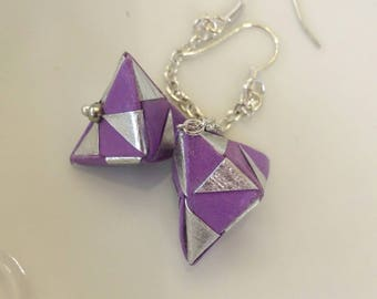 Purple andSilver Origami Jewelry - Pyramid Paper Earrings - Paper Jewelry - Moular Origami Earrings-Dange Earrings