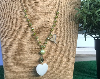 Pearl and crystal heart pendant necklace