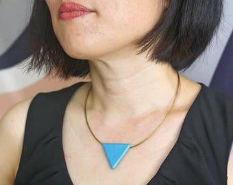 Turquoise Geometric Pendant Necklace- Minimalistic Style