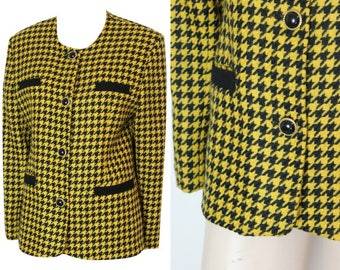 Vintage 1980s Marathon Mustard Houndstooth Jacket Size 14/42 / Retro Jacket / Vintage Blazer / Clueless