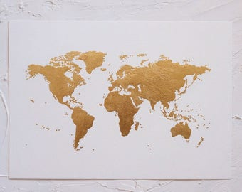 Gold leaf world map etsy original luxe gold leaf world map artwork a3 world art gold leaf gumiabroncs Gallery