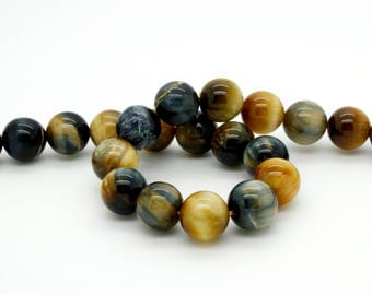 Natural Golden Blue Tiger Eye Tiger's Eye Smooth Round Ball Sphere Loose Gemstone Beads Size:6mm/ 8mm/ 10mm/ 12mm 15.5''Long per Strand