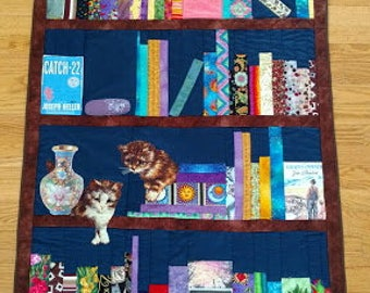 Bookcase Quilt Book Shelf Quilt Library Quilt Lap Quilt Wall Hanging