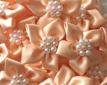5 Peach Satin Ribbon Poinsettia Flowers 4cm  - Card Making Embellishments Craft Sewing