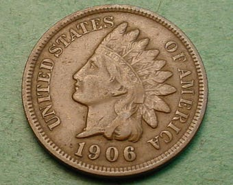 Indian Head Cent 1906 Fine<> FREE SH to United States<> # ET3441