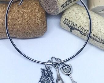 Missouri Wine Charm Bangle Bracelet