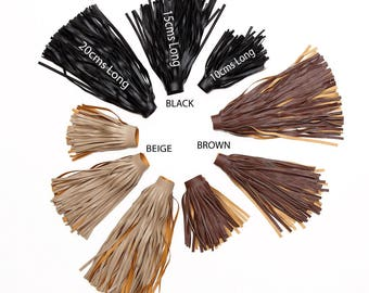 PU Faux Leather Fringe Tassel Trimming, Soft Drape, 10, 15 and 20cms Long, Quality Fabric & Material, Sewing and Crafts, Neotrims Textiles