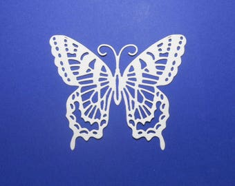 """Vanilla Cream Intricate Butterfly Die Cuts 3"""" x 2 1/2"""" - Cardstock Paper Butterfly Embellishments, Scrapbooking, Card Making, 4 pc"""