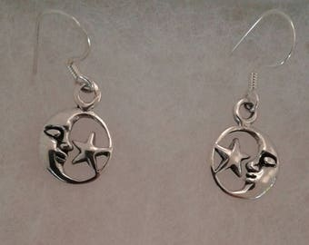 Moon and Star Earrings, Solid Sterling Silver Dangle Earrings, Moon and star Jewelry