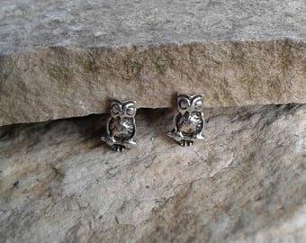 Owl Earrings, Solid Sterling Silver Owl Stud Earrings, Owl Jewelry
