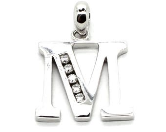 925 Sterling Silver Beautiful Block Initial M Pendant Set with Five 2mm CZ
