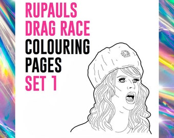 SET #1 - RuPaul's Drag Race Drag Queen Catchphrase Colouring Pages