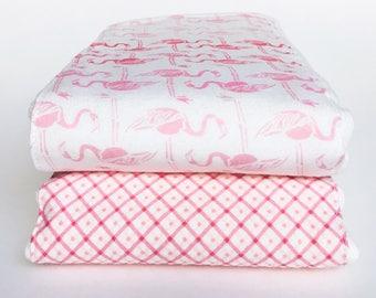 Flannel Cloth Diaper Burp Cloth - Pink Flamingos - Set of 2 - Baby Girl