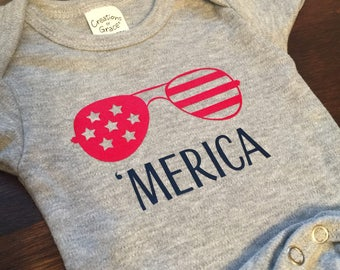 Fourth of July, Baby, Kids, America, Merica Apparel