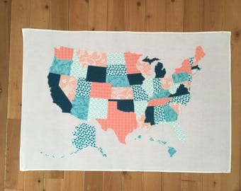 Custom USA Scrap Map, Fabric Map, State, United States of America, America, USA Wall Hanging