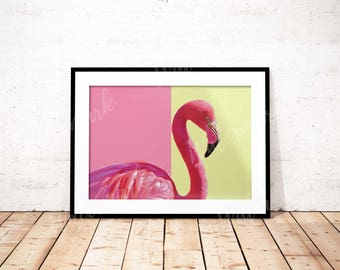 Flamingo art print Bird wall art nursery poster yellow pink Digital printable Instant Download