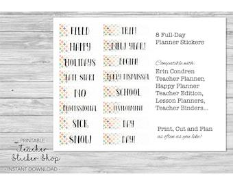 Teacher Planner Labels - Full Day Sticker Pack of 8 with CUT FILE - for Erin Condren, Happy Planner, Teacher Binder, Lesson Planner, etc
