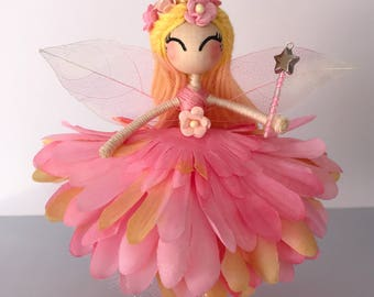Flower Fairy Doll, Princess Fairy Ornament, Cake Topper, Miniature Fairy Doll, gift for girls, fairy cake topper.