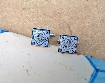 Portuguese antique majolica tiles replica cuff links, men accessories, men jewelry, Portuguese tile, tile cuff links, blue silver cuff links