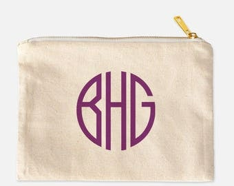 Monogram Cosmetic Bag, Personalized Cosmetic Bag, Cosmetic Travel Bag, Cotton Canvas Cosmetic Bag, Lined Makeup Bag, Cute Makeup, 9.5 x 7