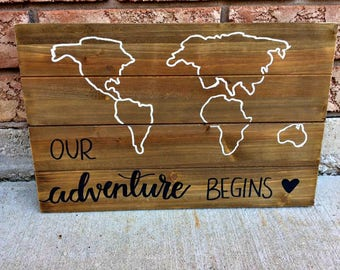 """Pallet Wood Outline Map with Handlettered, Painted Message """"Our Adventure Begins"""""""