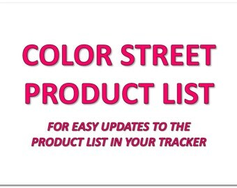 Color Street Product List - For Use With Color Street Business Tracker