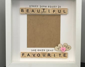 wedding scrabble frame keep sake wedding gift mr and mrs frame wedding scrabble - Mr And Mrs Photo Frame