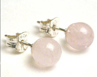 Rose Quartz - 6mm Round Studs Earrings - Sterling Silver