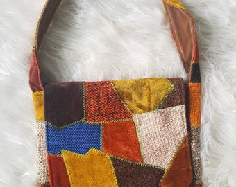 SALE 70s hand stitched patchwork Messenger bag