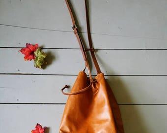 Faux leather boho bucket bag. Drawstring bucket bag. Bohemian purse
