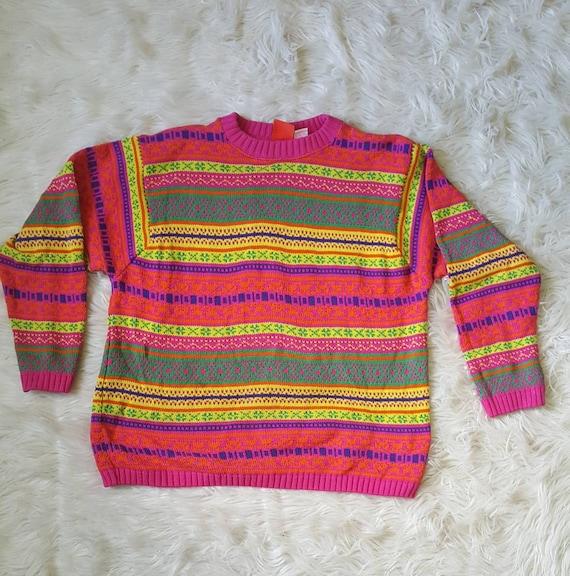 Vintage 90s neon bright sweater. Vintage LizandCO cotton sweater men's size small ladies M/L