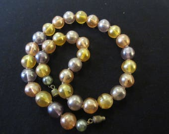 Vintage Opaque Round Glass Bead Necklace in Autumn Tones